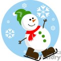 snowman with green hat and brown skates