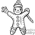 gingerbread man holding a candy cane