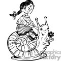 girl riding a snail