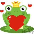 Cartoon-Happy-Frog-Prince-Character-Holding-A-Red-Heart