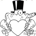 cartoon-frog-with-a-hat-and-cigar-holding-a-heart  gif, png, jpg, eps, svg, pdf