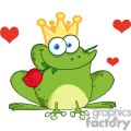 Cartoon-Frog-Prince-With-A-Rose-In-Mouth