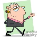 Cartoon-Happy-Businessman-Shows-green-background