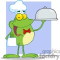 Cartoon-Frog-Mascot-Character-Chef-Serving-Food-In-A-Sliver-Platter-purple-background