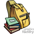 cartoon backpack books and pencils