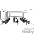 Black and white outline of a classroom with desks