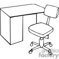 black and white outline of a desk and chair