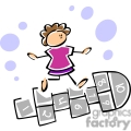 cartoon little girl playing hopscotch