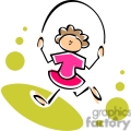 whimsical cartoon girl jumping rope