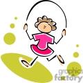 Whimsical cartoon girl jumping rope