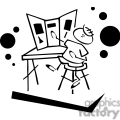 black and white outline of boy and a science fair project  gif, png, jpg, eps, svg, pdf
