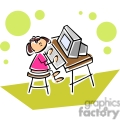 Cartoon student using her computer