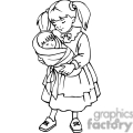 black and white outline of a girl holding a baby