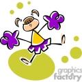 Whimsical cartoon cheerleader