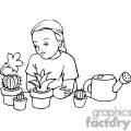 black and white outline of a student learning about plants and cactus