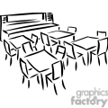 Black and white outline of a room with tables and chairs
