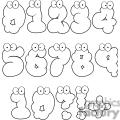 black and white cartoon number set