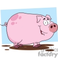 cartoon pig in a mud puddle