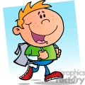 cartoon boy going back to school