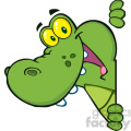 102539-Cartoon-Clipart-Happy-Crocodile-Looking-Around-A-Blank-Sign