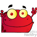 102499-Cartoon-Clipart-Red-Frog-Gesturing-The-Peace-Sign-With-His-Hand