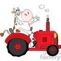 cartoon-cow-driving-a-tractor  gif, png, jpg, eps, svg, pdf