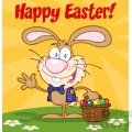 Royalty-Free-RF-Copyright-Safe-Happy-Easter-Text-Above-A-Waving-Bunny-With-Easter-Eggs-And-Basket