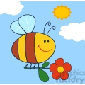 royalty-free-rf-copyright-safe-happy-bee-fflying-with-flower-in-sky  gif, png, jpg, eps, svg, pdf