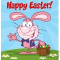 Royalty-Free-RF-Copyright-Safe-Happy-Easter-Text-Above-A-Waving-Pink-Bunny-With-Easter-Eggs-And-Basket