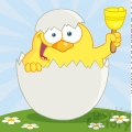 4754-Royalty-Free-RF-Copyright-Safe-Happy-Yellow-Chick-Peeking-Out-Of-An-Egg-And-Ringing-A-Bell