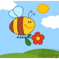 4717-Royalty-Free-RF-Copyright-Safe-Happy-Bee-Fflying-With-Flower-In-Sky