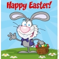 Royalty-Free-RF-Copyright-Safe-Happy-Easter-Text-Above-A-Waving-Gray-Bunny-With-Easter-Eggs-And-Basket