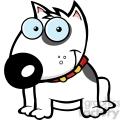 12815 RF Clipart Illustration Smiling White  Bull Terrier Dog