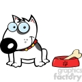 12817 RF Clipart Illustration Smiling White Bull Terrier Dog With Bowl And Bone