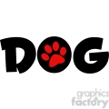 12810 RF Clipart Illustration Dog Text With Red Paw Print