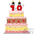 128126 RF Clipart Illustration Birthday Cake With Number Ten Candles Cartoon Character