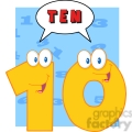 5030-Clipart-Illustration-of-Number-Ten-Cartoon-Mascot-Character-With-Speech-Bubble