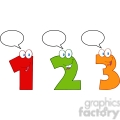 4984-Clipart-Illustration-of-Numbers-One,Two-And-Three-Cartoon-Mascot-Characters-With-Speech-Bubble