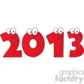 4987-Clipart-Illustration-of-2013-New-Year-Red-Numbers-Cartoon-Characters