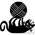 vector clip art illustration of black cat 015