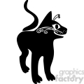 vector clip art illustration of black cat 058