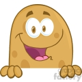 5177-Potato-Cartoon-Mascot-Character-Over-A-Sign-Royalty-Free-RF-Clipart-Image
