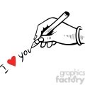 hand writting I love you with a heart