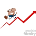 Clipart of Smiling African American Business Manager Running Upwards On A Statistics Arrow