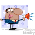royalty free excited african american business manager speaking through a megaphone  gif, png, jpg, eps, svg, pdf