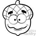 clip art of black white silly acorn vector illustration  gif, png, jpg, eps, svg, pdf