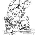 cartoon boy watering flowers bw