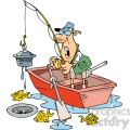 cartoon fishing character finding junk