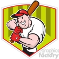 baseball player batting front shield half
