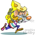 cartoon mouse carrying big piece of cheese